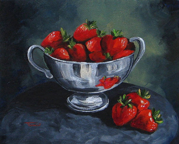 Strawberries Poster featuring the painting Bowl Of Strawberries by Torrie Smiley