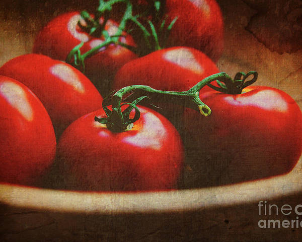 Tomatoes Poster featuring the photograph Bowl Of Tomatoes by Toni Hopper