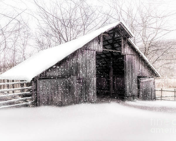 Snow Poster featuring the photograph Boxley Snow Barn by Larry McMahon