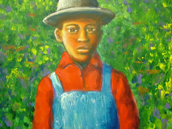 Painting Poster featuring the painting 'boy In The Woods' by Jan Gilmore