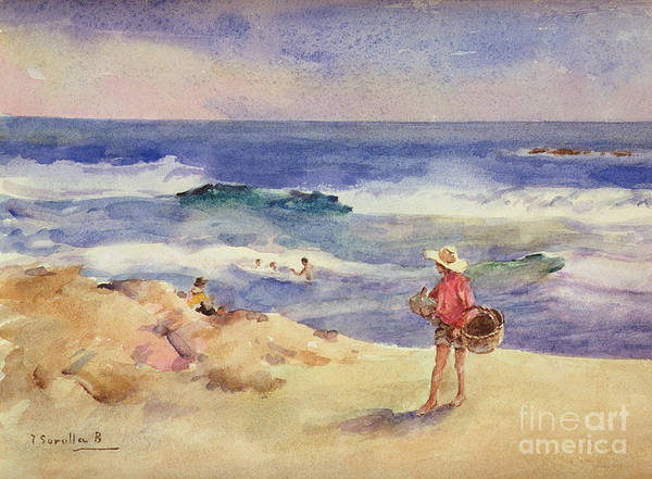 Boy On The Sand (w/c On Paper)coast; Coastal; Beach; Holiday; Seaside; Waves; Basket; Swimming; Playing;watercolor Poster featuring the painting Boy On The Sand by Joaquin Sorolla