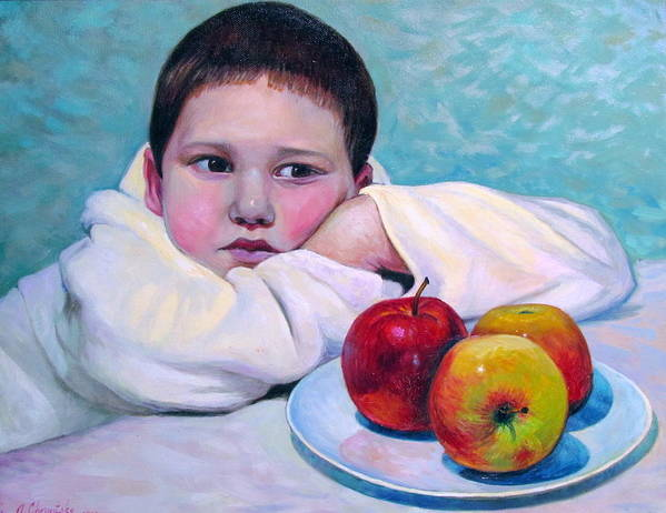 Children Poster featuring the painting Boy With Apples by Alexander Chernitsky