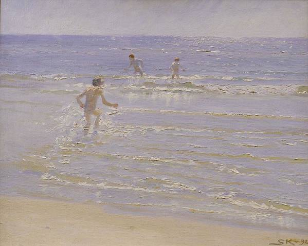 Sunshine Poster featuring the painting Boys Swimming by Peder Severin Kroyer