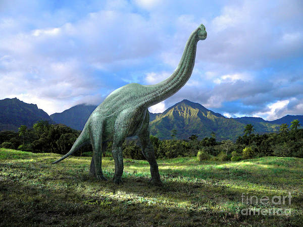 Dinosaur Poster featuring the mixed media Brachiosaurus In Meadow by Frank Wilson