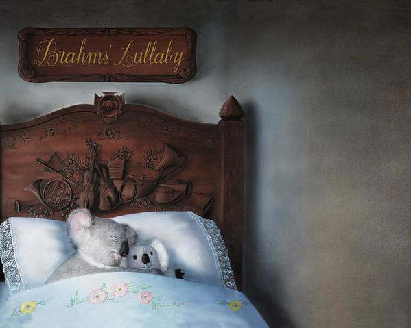 Koala Poster featuring the painting Brahms' Lullaby by Philippe Plouchart