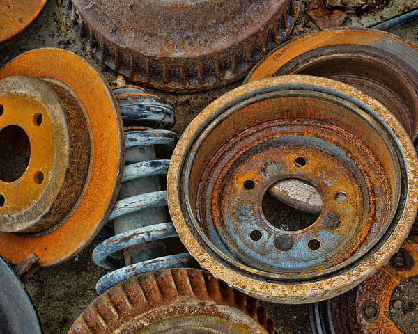 Automotive Poster featuring the photograph Brake Drums - Disc Brakes - Shock Assembly by Nikolyn McDonald