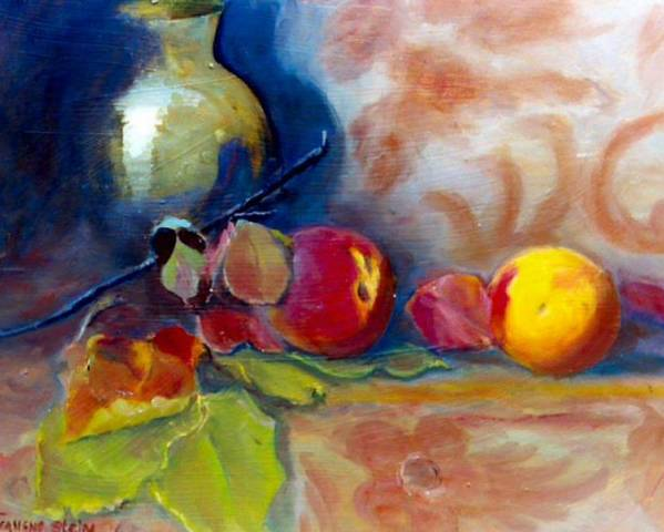 Still Life.brass Poster featuring the painting Brass And Peaches by Jeanene Stein