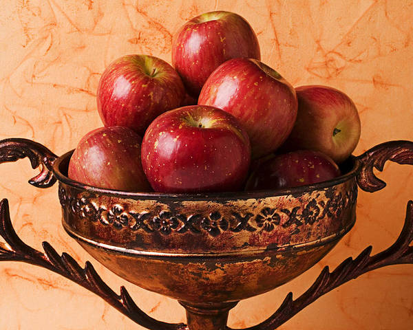 Apple Poster featuring the photograph Brass Bowl With Fuji Apples by Garry Gay