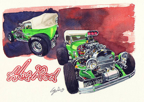 Brazilian Hot Rod V8 Poster featuring the painting Brazilian Hot Rod V8 by Yoshiharu Miyakawa