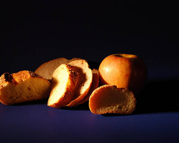 Still Life Poster featuring the photograph Bread And Apple by William Thomas
