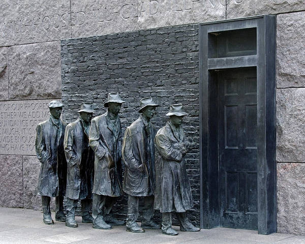franklin Delano Roosevelt Poster featuring the photograph Breadline At The Fdr Memorial - Washington Dc by Brendan Reals