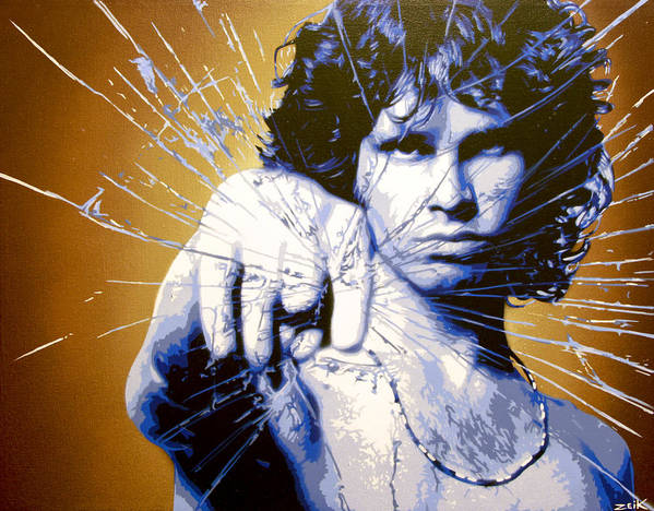 Jim Morrison Poster featuring the painting Break On Through by Bobby Zeik