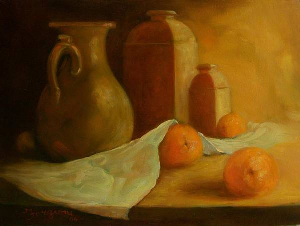 Orange Poster featuring the painting Breakfast Oranges by Tom Forgione