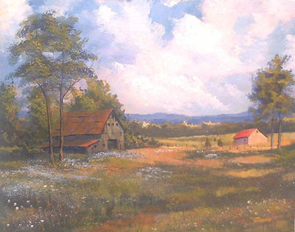 Landscape Poster featuring the painting Breaking Through by Curt Curt