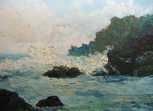 Landscape Poster featuring the painting Breaking Waves - Number One by Belinda Consten