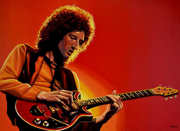 Brian May of Queen Painting by Paul Meijering