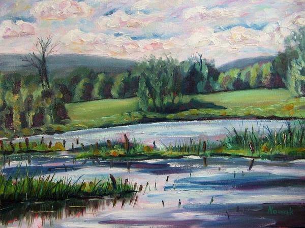 Pond Poster featuring the painting Brick Pond Afternoon by Richard Nowak