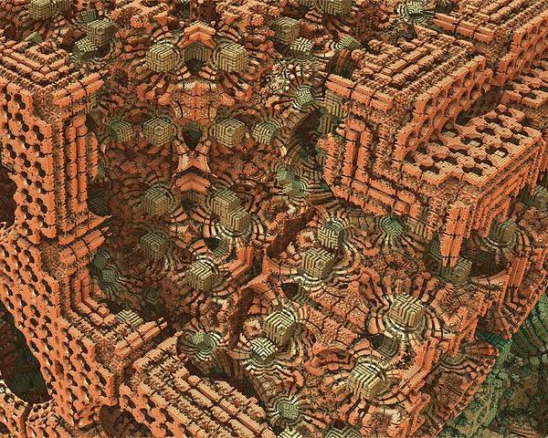 Mandelbulb Poster featuring the digital art Bricks And Mortar by Lyle Hatch