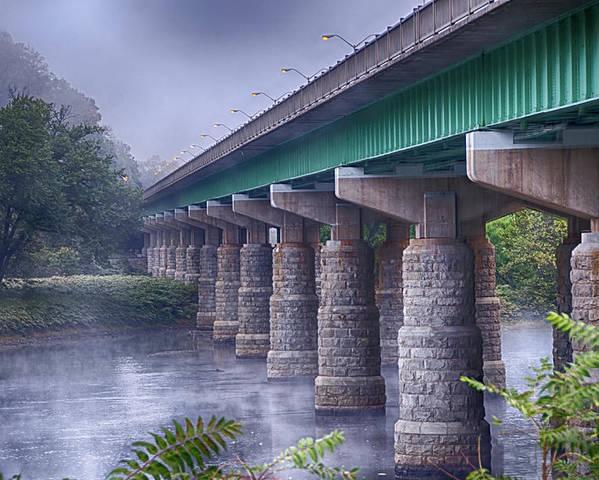 Bridge Poster featuring the photograph Bridge Over The Delaware River by Eleanor Bortnick