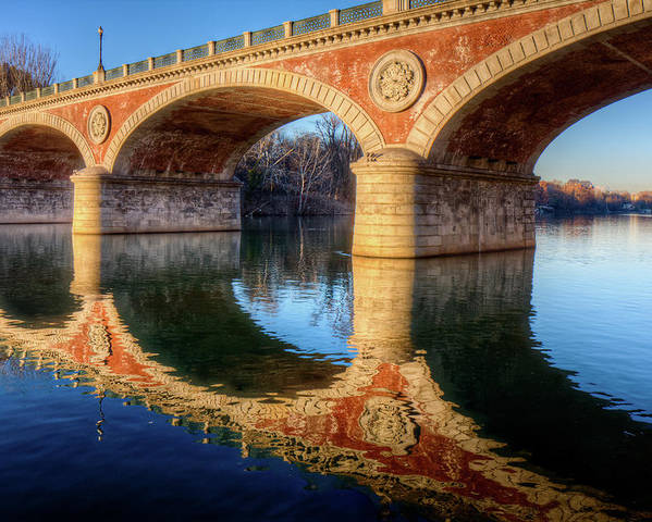 Horizontal Poster featuring the photograph Bridge Reflection On River by Andrea Mucelli