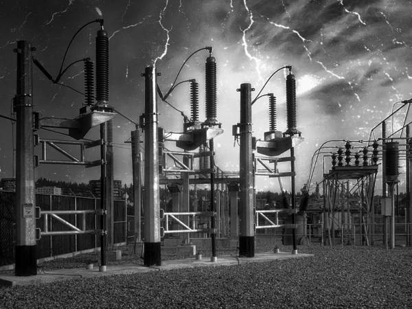 Power Poster featuring the photograph Bridge St Power Substation 2 - Spokane Washington by Daniel Hagerman