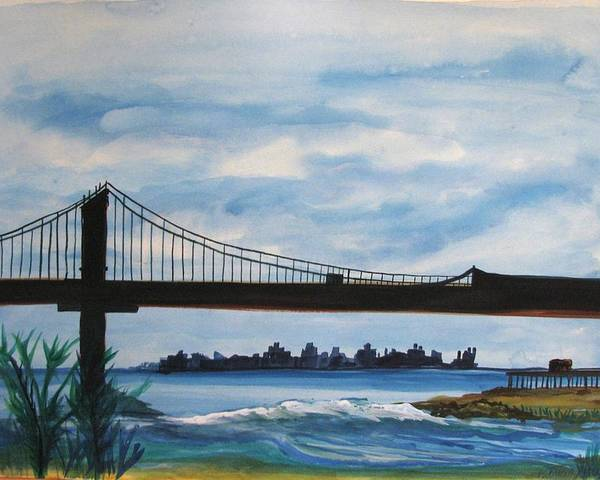 Beach Scene Poster featuring the painting Bridge To Europe by Patricia Arroyo