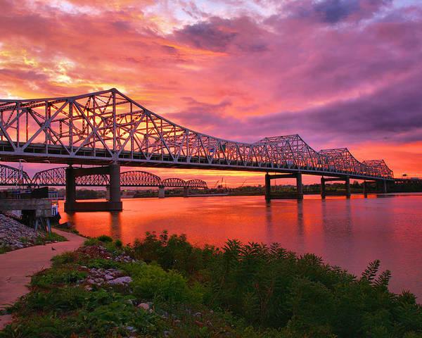 Bridge Poster featuring the photograph Bridges At Sunrise II by Steven Ainsworth