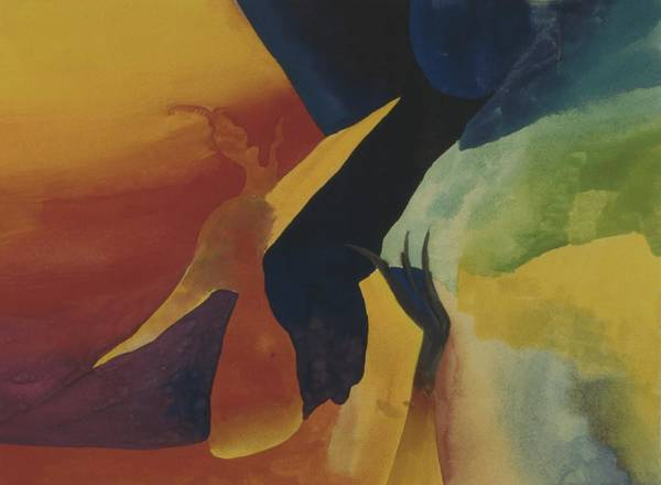 Abstract Poster featuring the painting Bridging Worlds by Peter Shor