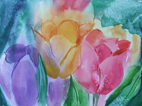 Floral Poster featuring the painting Bright And Pretty by Dianna Willman
