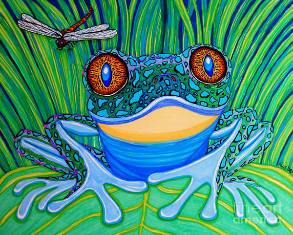 Frog Poster featuring the drawing Bright Eyes 2 by Nick Gustafson