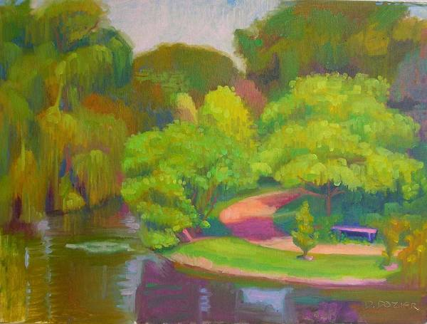 Landscape Poster featuring the painting Bright Hazy Day Chicago Botanical Gardens by David Dozier