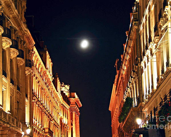 Architecture Poster featuring the photograph Bright Moon In Paris by Elena Elisseeva