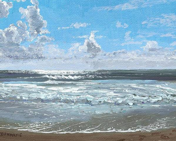 Surf Poster featuring the painting Bright Morning by Keith Wilkie