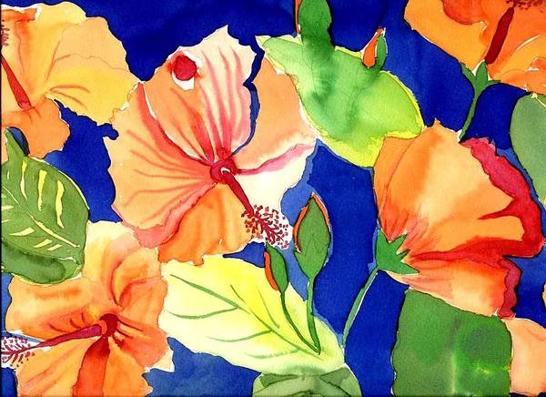 Bright Orange Flowers Floral Poster featuring the painting Bright Orange Flowers by Janet Doggett