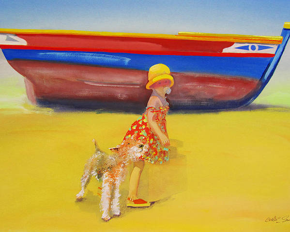 Wire Haired Fox Terrier Poster featuring the painting Brightly Painted Wooden Boats With Terrier And Friend by Charles Stuart