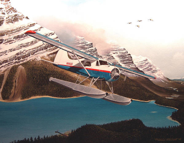 Aviation Poster featuring the painting Bringing Home The Groceries by Marc Stewart