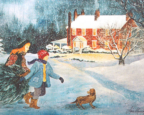 Winter;snow;christmas Tree;children;dog;brick House;farm House; Poster featuring the painting Bringing In The Tree by Lois Mountz