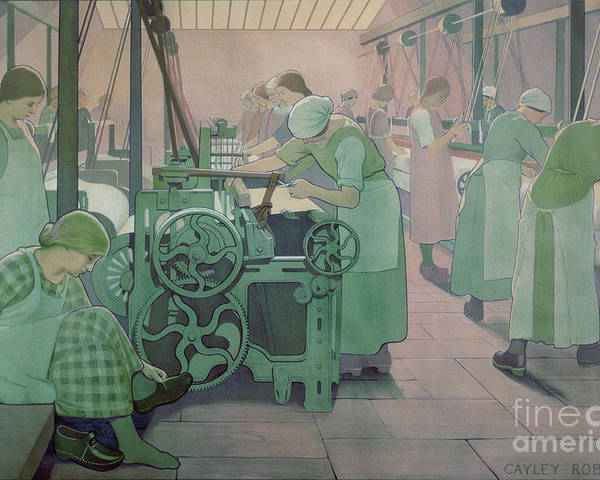 Factory; Twenties; Women; Machinery; Looms; Protective Clothing Poster featuring the painting British Industries - Cotton by Frederick Cayley Robinson