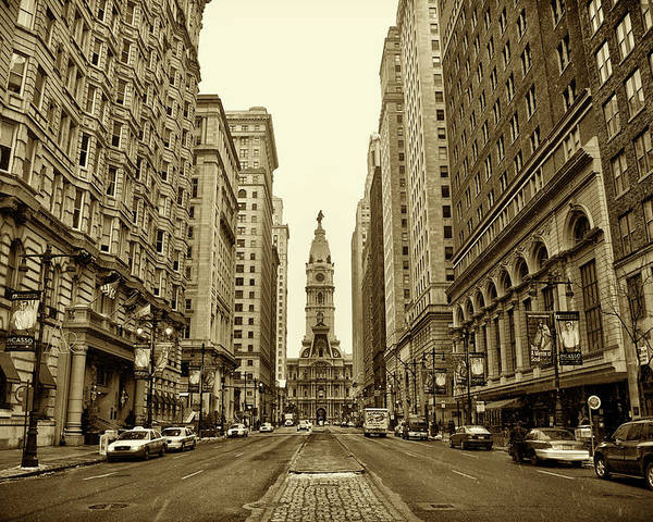 Broad Street Poster featuring the photograph Broad Street Facing Philadelphia City Hall In Sepia by Bill Cannon