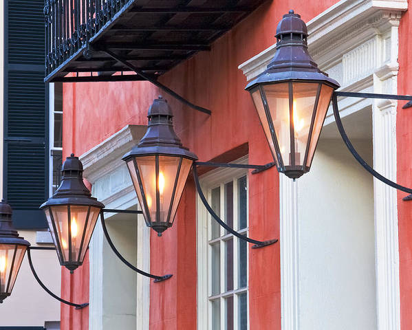 Aged Poster featuring the photograph Broad Street Lantern - Charleston Sc by Drew Castelhano
