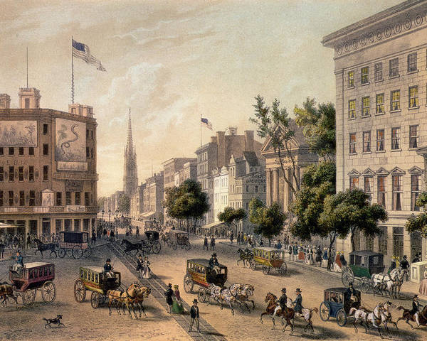 Broadway Poster featuring the painting Broadway In The Nineteenth Century by Augustus Kollner