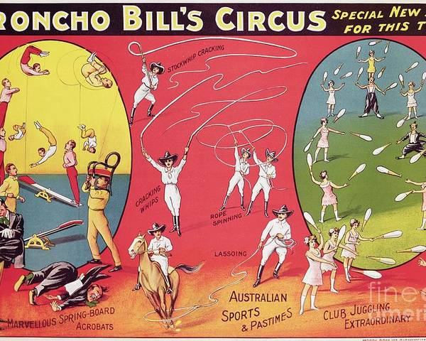 Broncho Bill's Circus Poster featuring the painting Bronco Bills Circus by English School