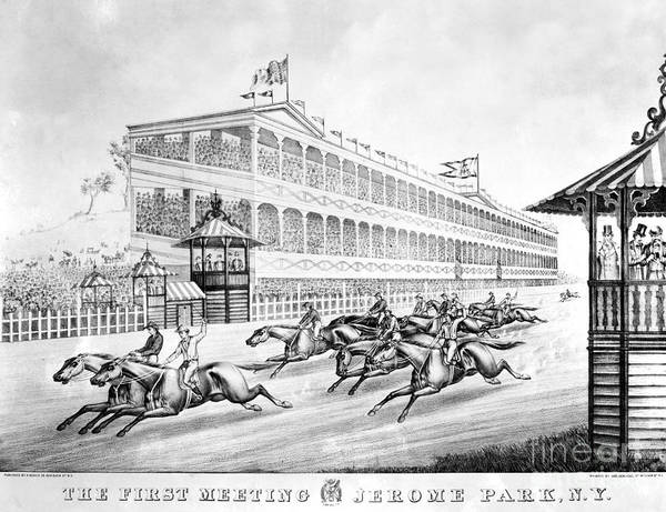 1866 Poster featuring the photograph Bronx: Horse Race, 1866 by Granger