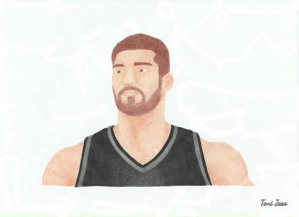 Nba Poster featuring the drawing Brook Lopez by Toni Jaso