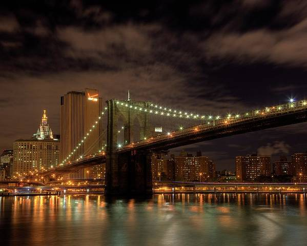 Brooklyn Bridge Poster featuring the photograph Brooklyn Bridge At Dusk by Shawn Everhart