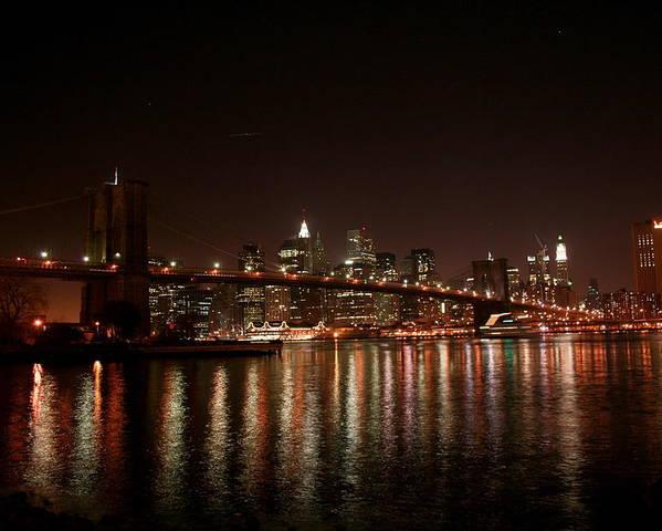 Brooklyn Bridge Poster featuring the photograph Brooklyn Bridge at Night by Jason Hochman
