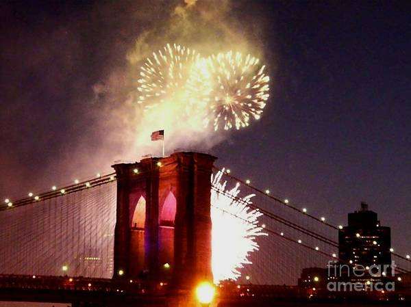 Brooklyn-bridge Poster featuring the photograph Brooklyn Bridge Celebration by Kendall Eutemey