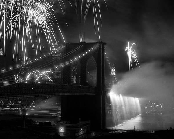 Brooklyn Bridge Poster featuring the photograph Brooklyn Bridge Columbus Quincentennial 1992 by Tom Callan