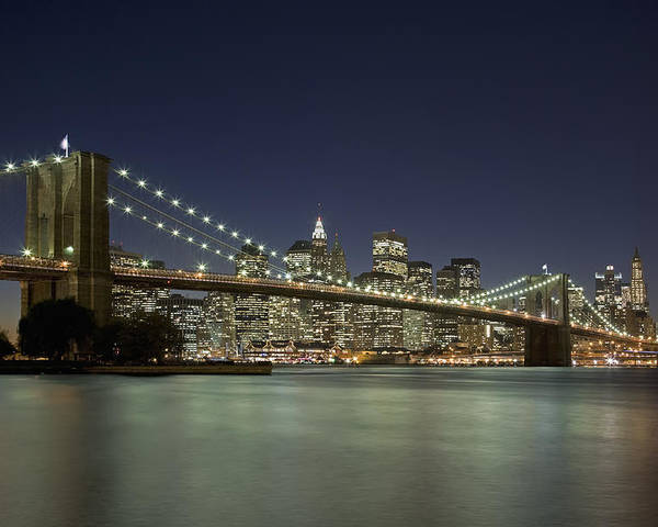Horizontal Poster featuring the photograph Brooklyn Bridge, New York City, Ny by David Davis