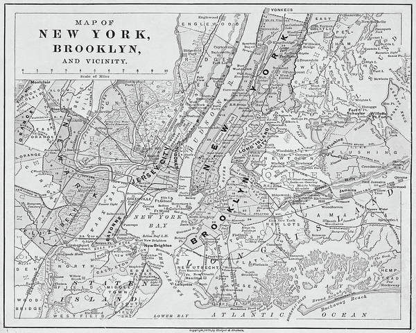 Map Of New York Poster.Brooklyn Ny 1868 Map New York Ny Black And White Poster
